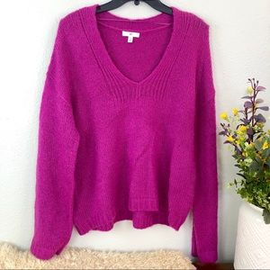 BP v neck oversized knit sweater ribbed trim